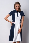 Dark blue elegant dress with a collar POLO I