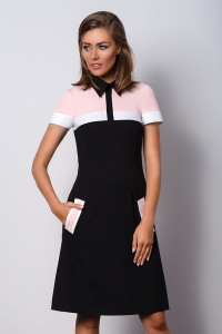 Formal black and pink dress with a collar POLO II