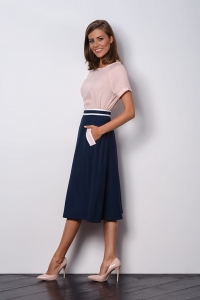 Navy blue elegant skirt to work VEGA