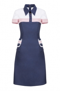 Formal dark blue dress with a collar POLO I