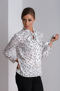 Elegant blouse with neck self-tie bows Adel
