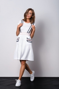 White modern skirt with straps ELLE I