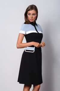 Elegant formal black and blue dress with a collar POLO II