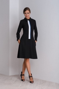 Midi black dress with a collar Kori