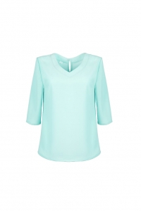 Loose mint blouse with V-shape neckline