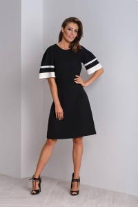 Black elegant dress with puffy sleeves MAYA