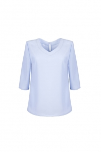 Loose blue blouse with V-shape neckline