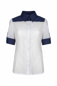 Navy blue and white shirt with a collar SMART Look