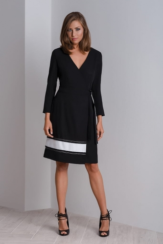 eb675797c741 Chic cocktail wrap dress CALA. CALA blacK silver front 003aB.jpg