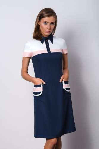 Navy Blue And White Formal Dress With Collar For A Woman