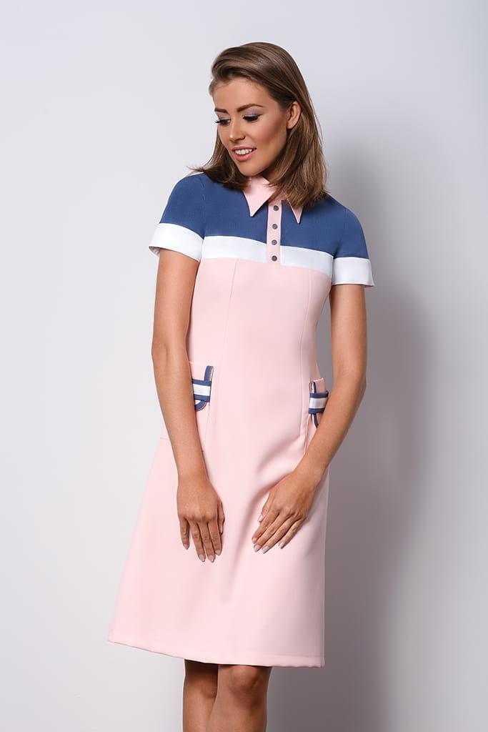 6340b13cf60e Elegancka różowa sukienka z kołnierzykiem POLO II. AB-057.jpg. AB-057. ...