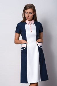 Dark blue elegant dress with a pink collar POLO I