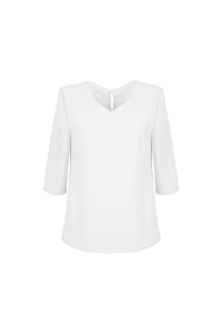 Loose white blouse with V-shape neckline