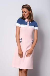 Chic pink dress with a collar POLO II